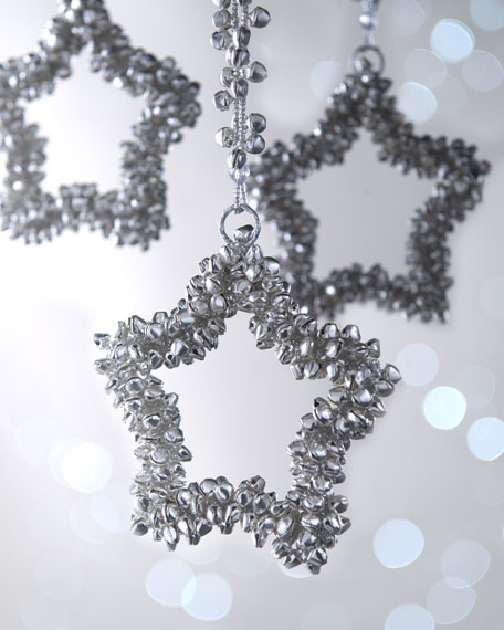 Silver-Bell Star Christmas Ornaments