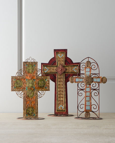 "Three ""Blue Spruce"" Crosses on Stands"