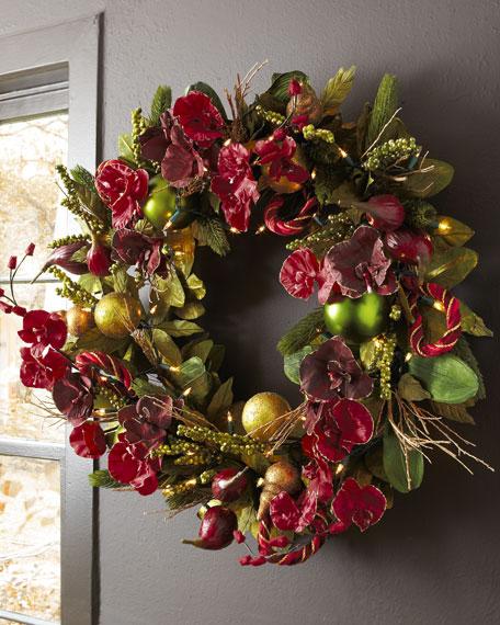 """""""Bordeaux"""" Pre-Lit Christmas Wreath"""