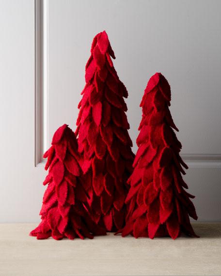 """""""Artisan"""" Red Felt Christmas Trees"""