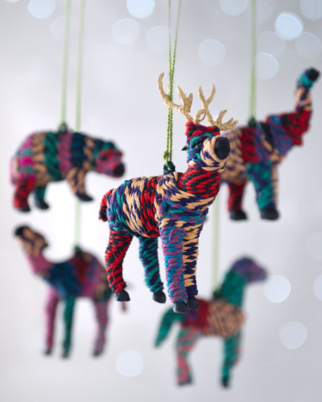 """Artisan"" Hand-Wrapped Animal Christmas Ornaments"