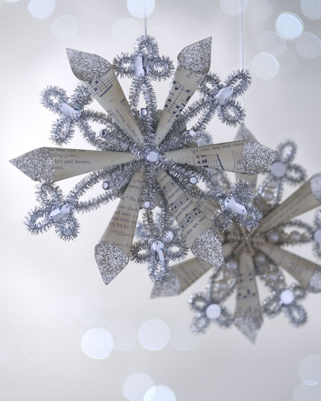 "Two ""Joyeux Noel"" Tinsel Snowflake Christmas Ornaments"