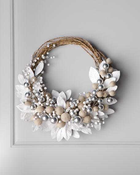 White Wreath with Jingle Bells
