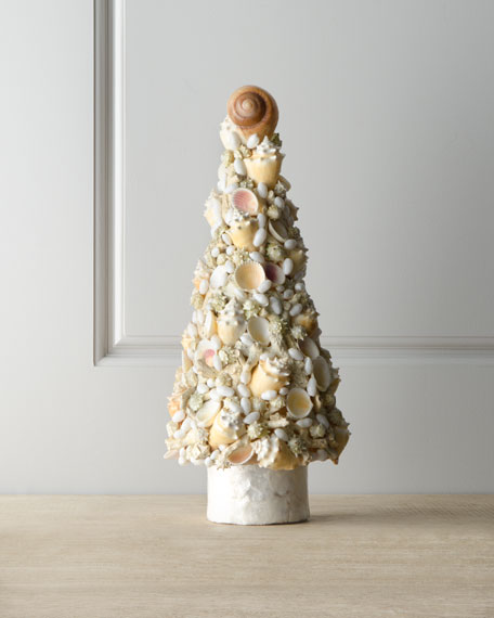 """Champagne Frost"" Seashells Christmas Tree, 22""T"