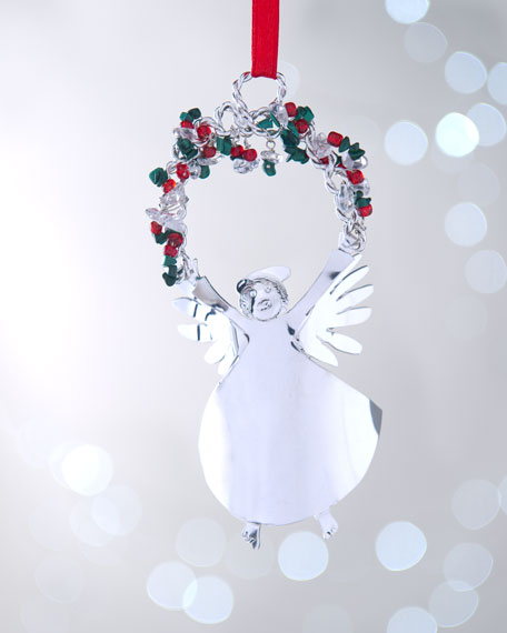 """Angel with Berry Garland"" Christmas Ornament"