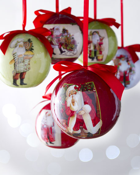Six Lynn Haney Ball Christmas Ornaments