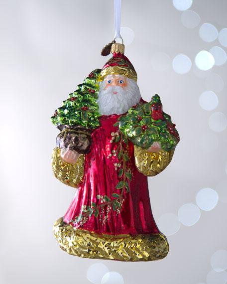 """Santa with Cardinal"" Christmas Ornament"