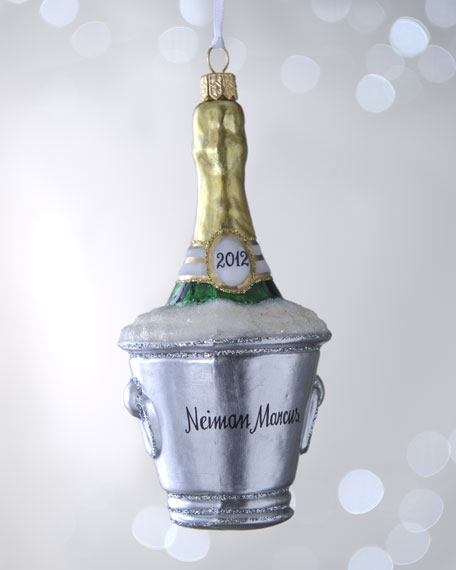 NM Champagne Bottle in Bucket Christmas Ornament