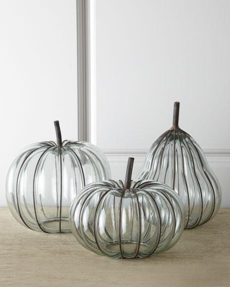 Three Glass & Metal Pumpkins