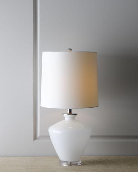 White Glass Urn Lamp