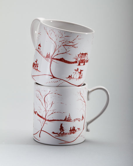 "Two Ruby ""Winter Holiday"" Mugs"