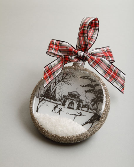 "Country Estate Ruby ""Winter Boat House"" Christmas Ornament"