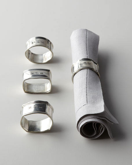 Vagabond HouseFour Assorted Pewter Napkin Rings