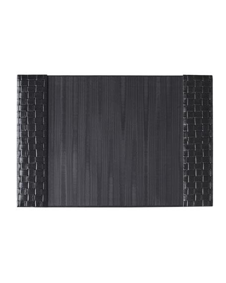Black Woven Leather Desk Pad