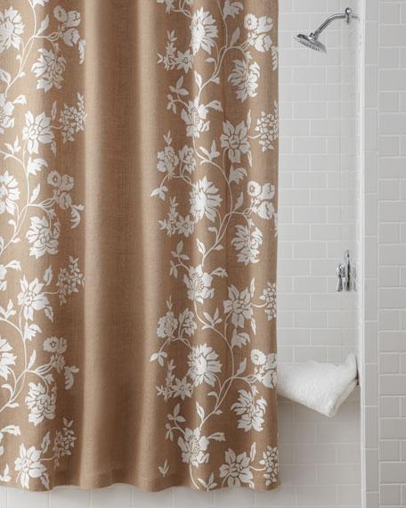 Floral Burlap Shower Curtain