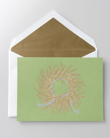 "50 Engraved ""Gold Wreath"" Christmas Cards"