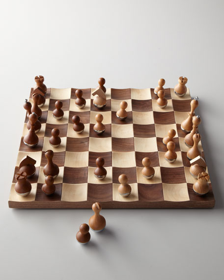 Wobble solid wood chess set - Wobble chess set ...