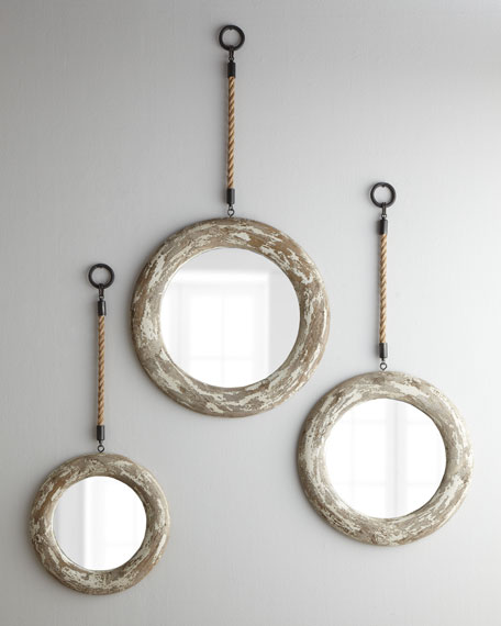 Three Hanging Mirrors with Rope Accents