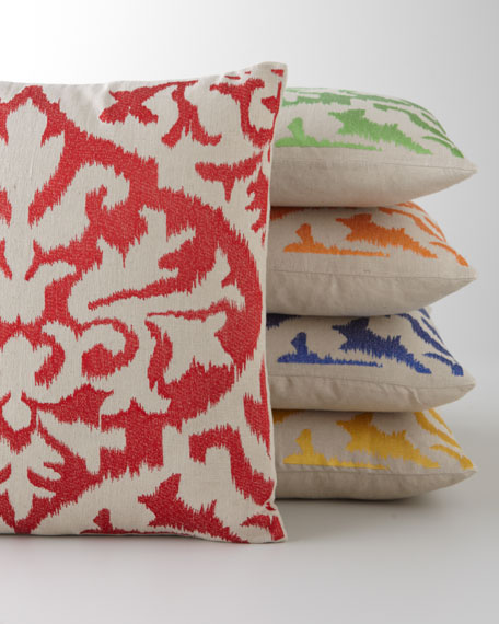 Ikat Detail Embroidered Pillow