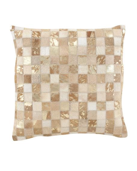 Hairhide Mosaic Metallic Pillow