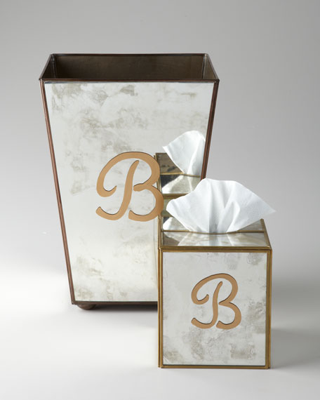Monogrammed Antiqued-Mirror Tissue Box Cover & Wastebasket
