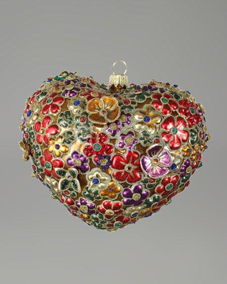 """""""Blossom Heart"""" Glass Christmas Ornament"""
