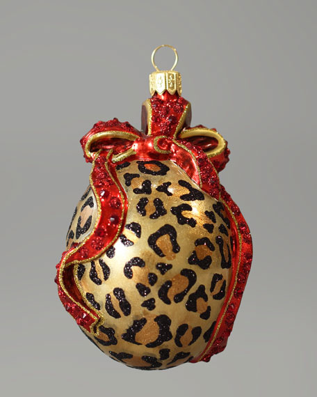 Leopard-Print Oval Glass Christmas Ornament
