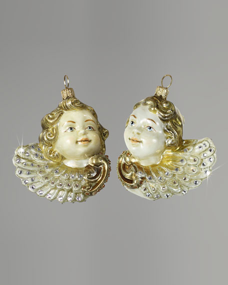 "Two ""Cherubs"" Glass Christmas Ornament"