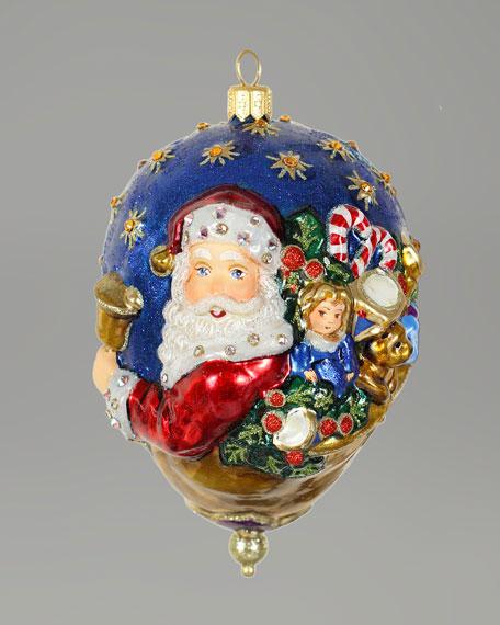 """Victorian Santa"" Oval Christmas Ornment"