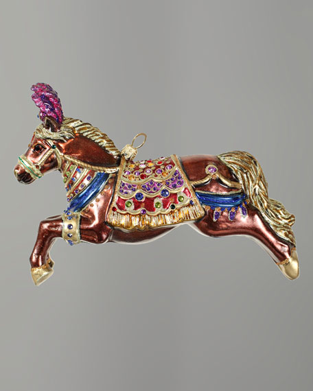 """Jeweled Carousel Horse"" Christmas Ornament"