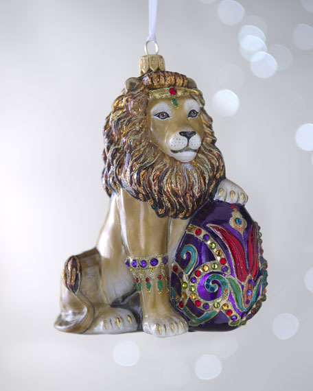 """Lion with Egg"" Christmas Ornament"