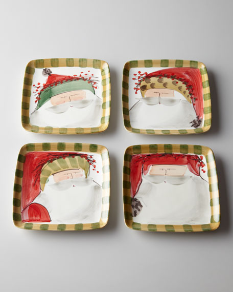 "Four Assorted ""Old St. Nick"" Square Salad Plates"