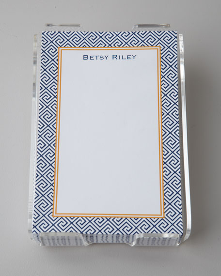 Navy Greek Key Notepad & Holder