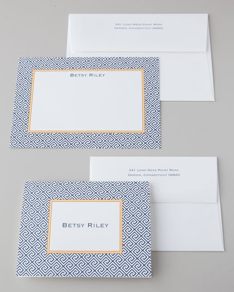 "25 Navy ""Greek Key"" Notes & Envelopes"