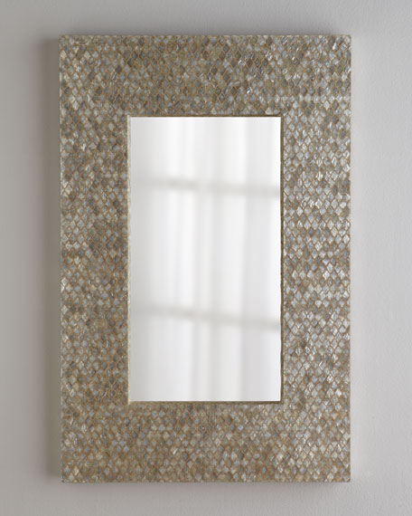 Diamond-Motif Capiz Mirror