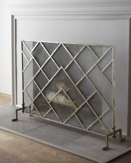 Modern Fireplace Screens Living Room Contemporary With: Geometric Fireplace Screen
