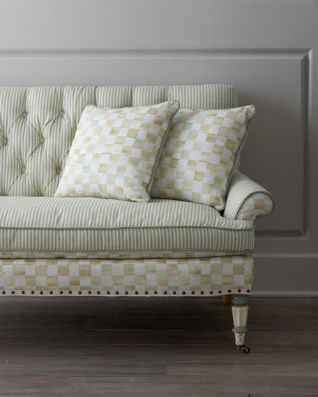 Parchment Check Underpinnings Loveseat