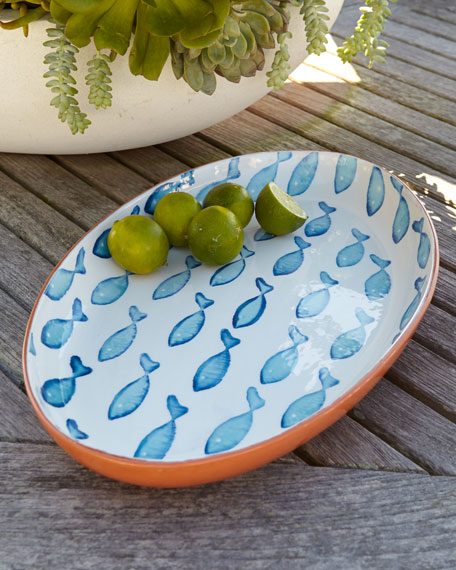 """Blue Fish"" Oval Platter"