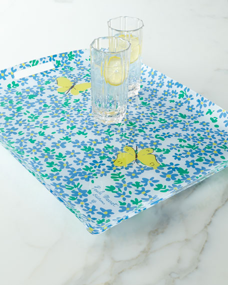 """""""Forget-Me-Not"""" Acrylic Tray with Handles"""
