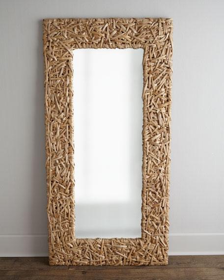 Seagrass Random Weave Floor Mirror