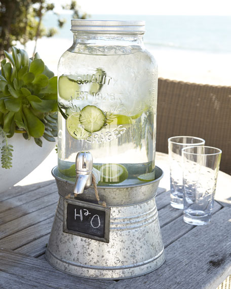 """Oasis"" Beverage Server with Galvanized Stand"