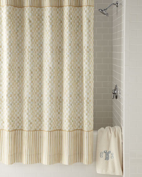 Parchment Check Shower Curtain
