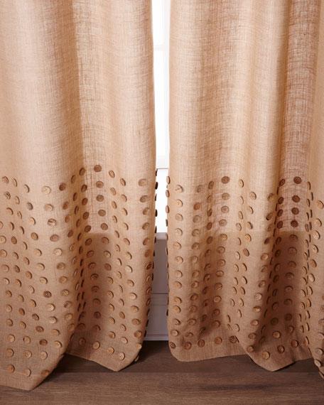 "Each 96""L Button-Detailed Burlap Curtain"