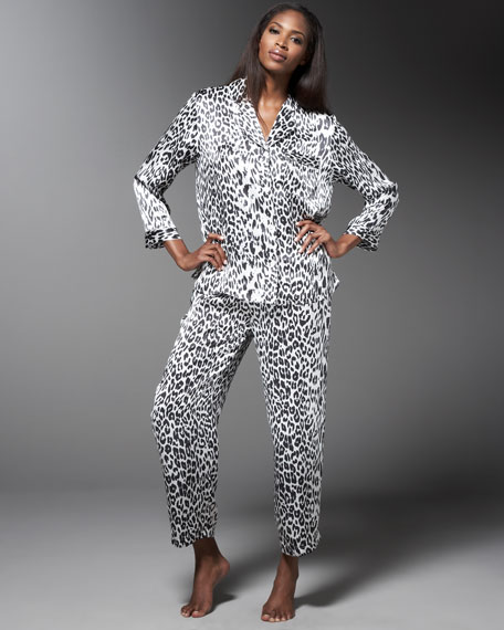 Neiman Marcus Leopard-Print Silk Pajamas