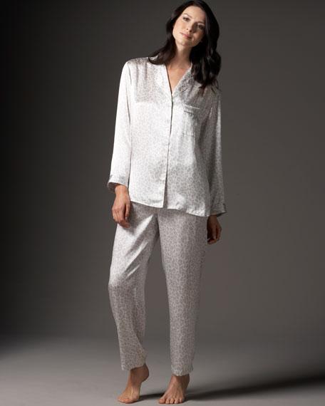 Leopard-Print Silk Pajamas
