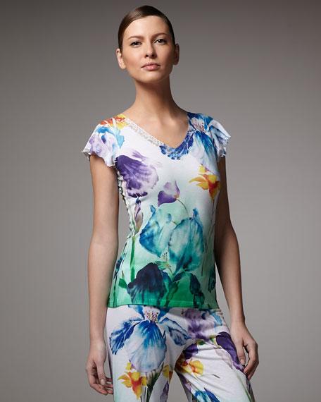 Iris-Print Short-Sleeve Top