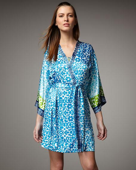 Short Floral-Print Robe