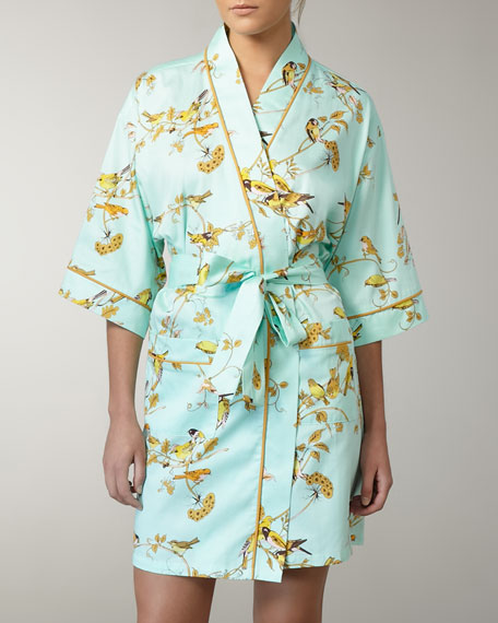 Canary-Print Short Robe
