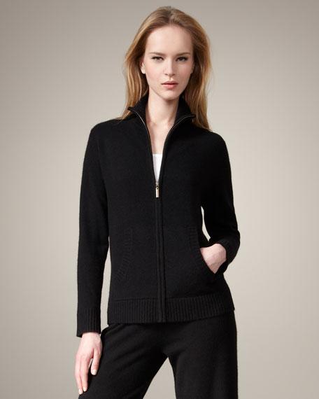Cashmere Zip Jacket, Black