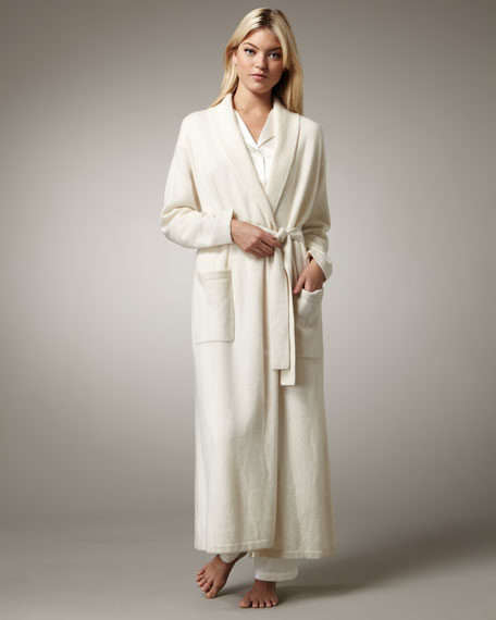 Long Cashmere Robe, Ivory